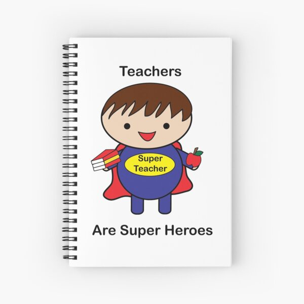 Teacher Male Super Hero Kawaii Spiral Notebook