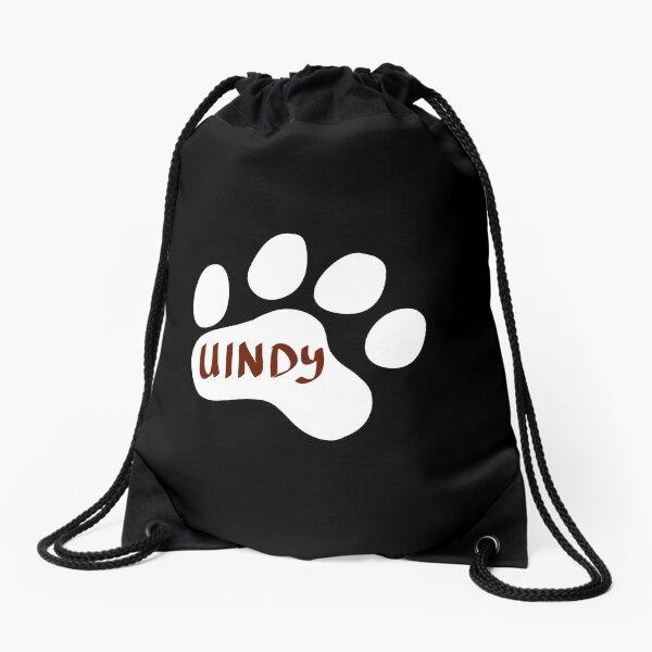 White University of Indianapolis Paw Print Drawstring Bag