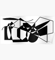 Geometric Black & White Shapes Poster