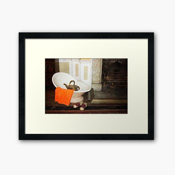 Take a bath by the fire Framed Art Print