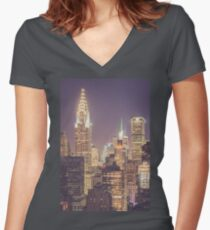 Chrysler Building Dusk Women's Fitted V-Neck T-Shirt