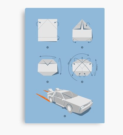 Origami DeLorean Canvas Print
