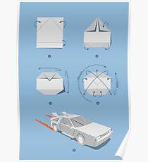 Origami DeLorean Poster