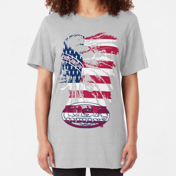 usa indian flag logo by rogers bros Slim Fit T-Shirt