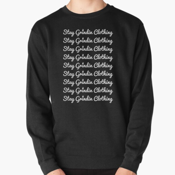 Stay Grindin Clothing - Repeated Cursive - White Pullover Sweatshirt