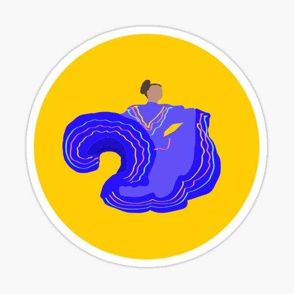Ballet Folklorico Dancer Gold Background Sticker Sticker