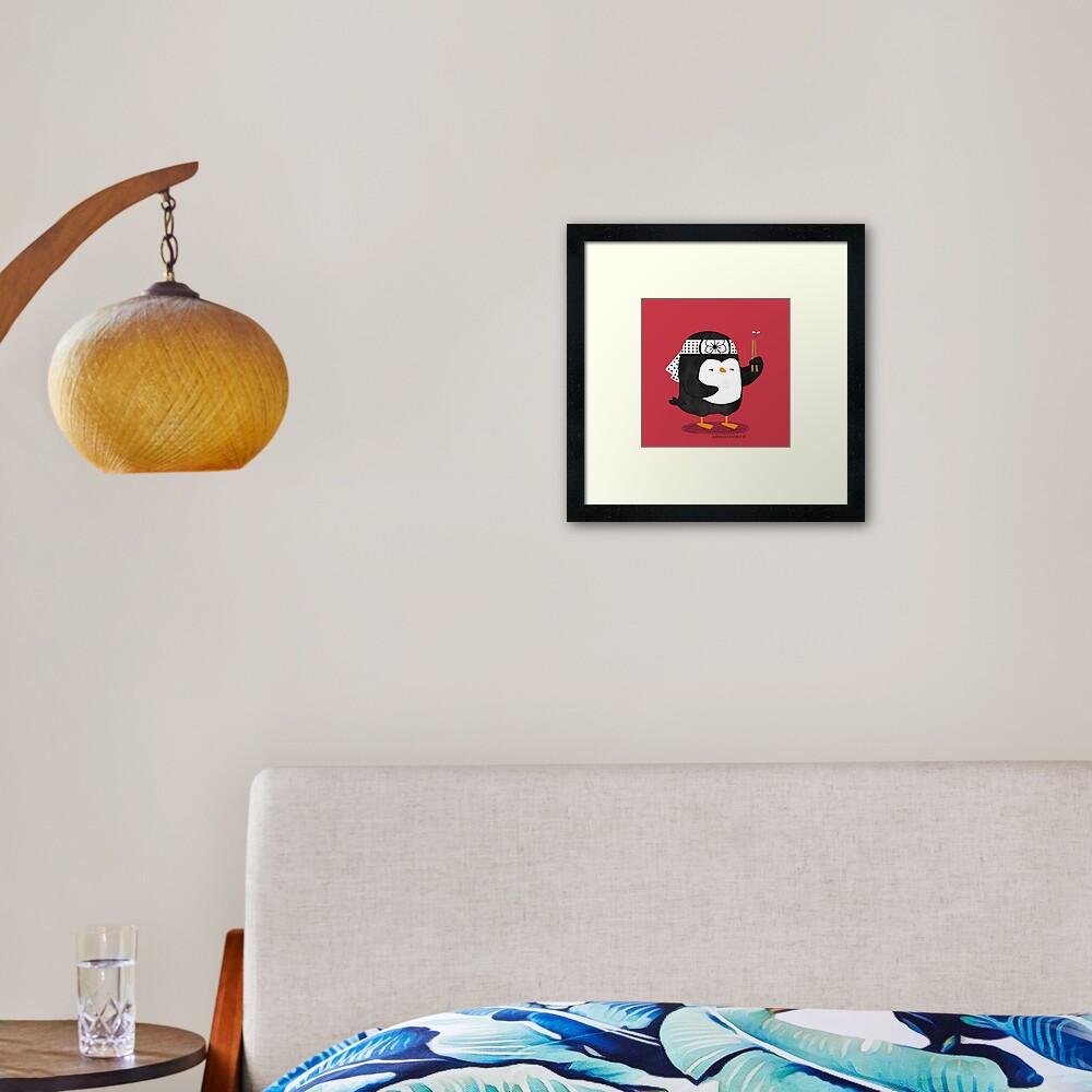 Karate Penguin Framed Art Print