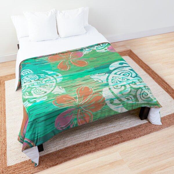 Tribal Turtles Collage Comforter
