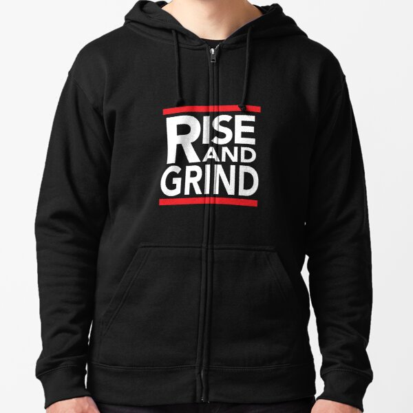 Rise and Grind - RUN DMC - Red  Zipped Hoodie