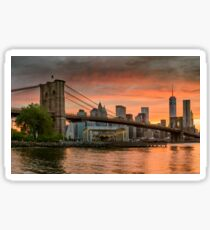 Sunset Over Brooklyn Bridge Sticker