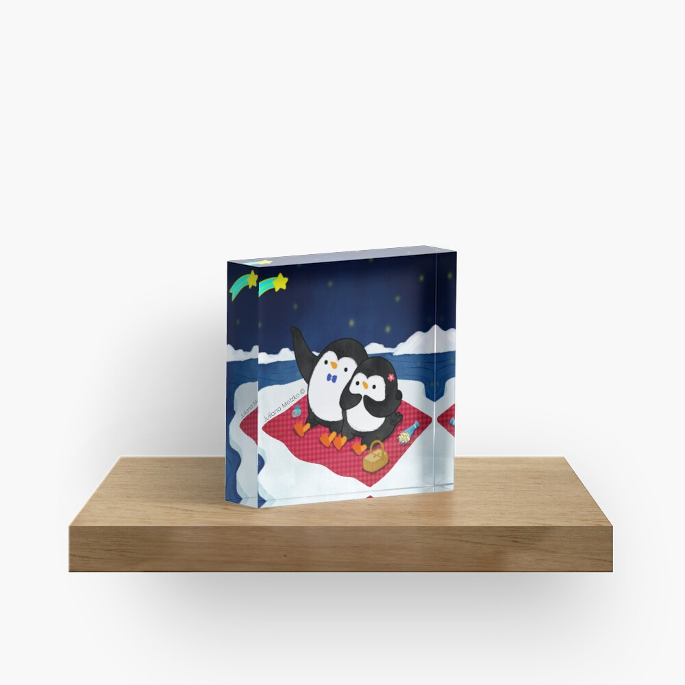 A Penguin Romantic Picnic Acrylic Block