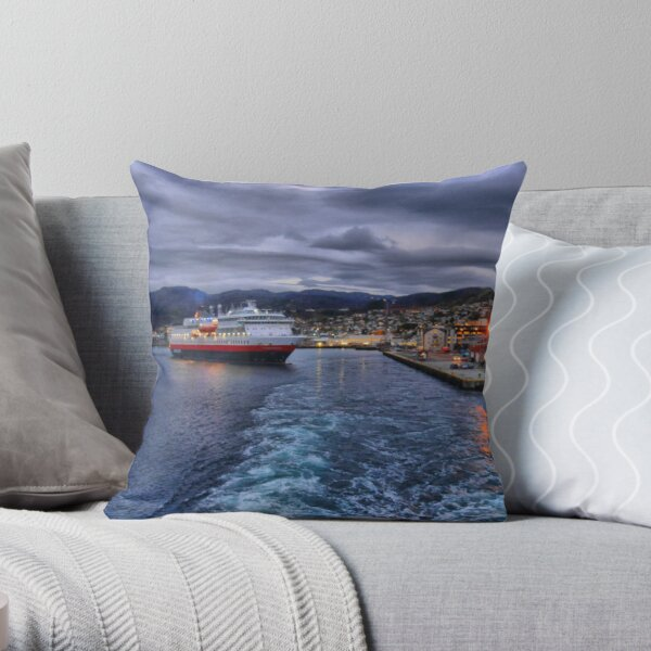 Leaving Tromso with the Finnmarken arriving. Throw Pillow