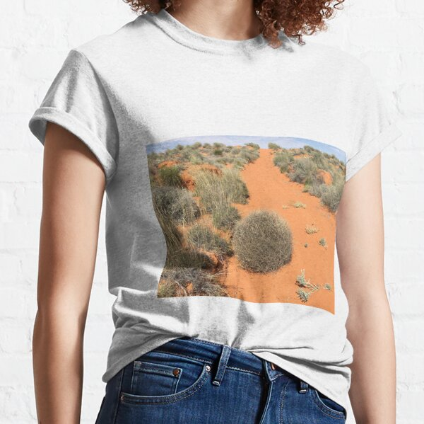 Tumbleweed across red sandy track in summer, offroad 4x4, Simpson Desert, South Australia Classic T-Shirt