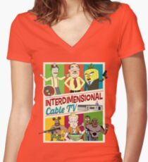 Interdimensional Cable TV Women's Fitted V-Neck T-Shirt
