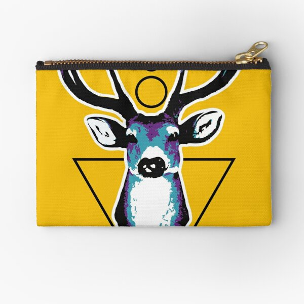 Deer or deer head acid colors with geometric background. Zipper Pouch