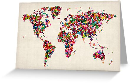 Butterflies Map of the World Map by Michael Tompsett