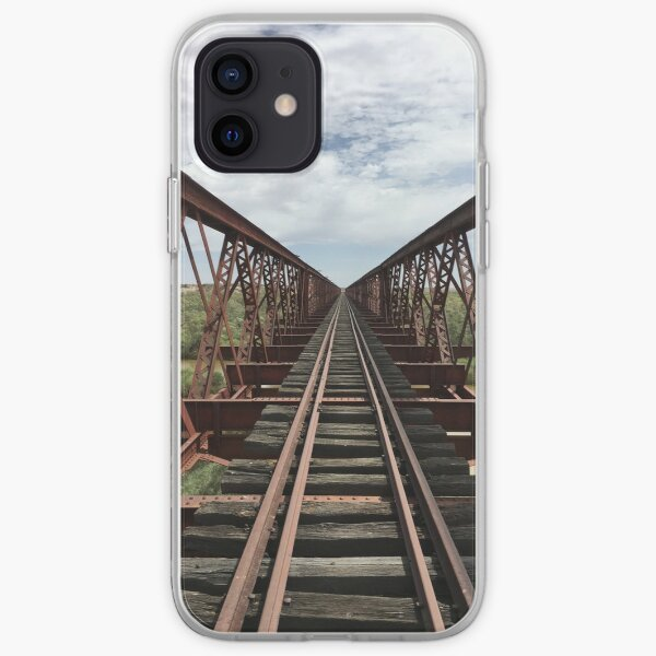 Algebuckina disused rail bridge along Oodnadatta, desert South Australia, Australia iPhone Soft Case
