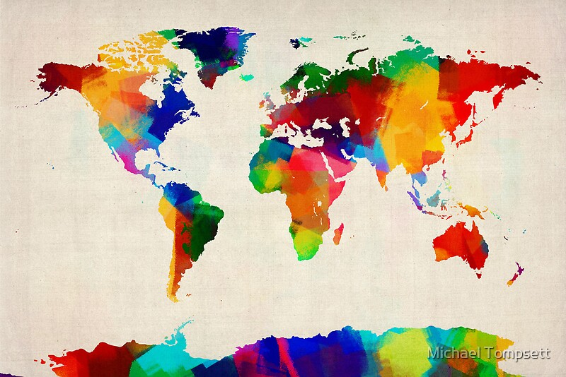 Map of the World Map Painting Framed Prints by Michael Tompsett
