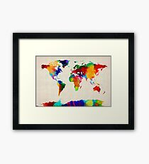Map of the World Map Painting Framed Print