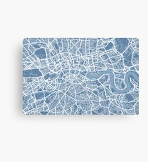 London Map Art Steel Blue Canvas Print