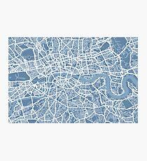 London Map Art Steel Blue Photographic Print