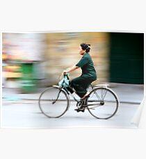 Bicycle woman in Hanoi, Vietnam. Poster