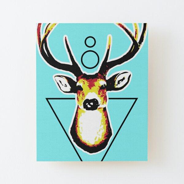 Deer or deer head acid colors with geometric background. Wood Mounted Print