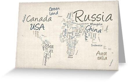 Writing Text Map of the World Map by Michael Tompsett