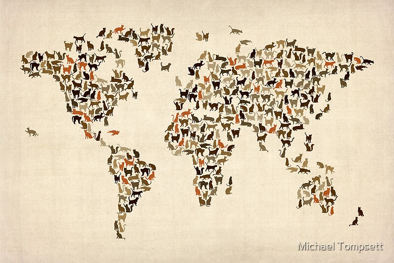 Cats map of the world map posters by michael tompsett redbubble photographic print gumiabroncs Image collections