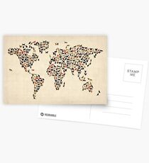 Cats Map of the World Map Postcards