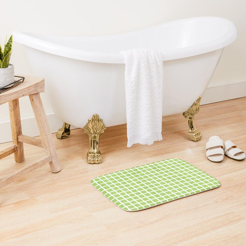 green and white grid checker pattern Bath Mat