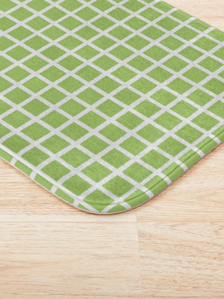 Alternate view of green and white grid checker pattern Bath Mat