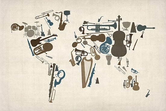 Musical instruments map of the world posters by michael tompsett musical instruments map of the world by michael tompsett gumiabroncs Images
