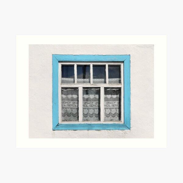 Karakul window - sellotape, tinsel and a lace curtain Art Print