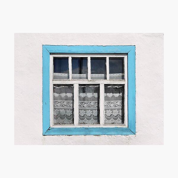 Karakul window - sellotape, tinsel and a lace curtain Photographic Print