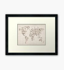 Map of the World Map Floral Swirls Framed Print