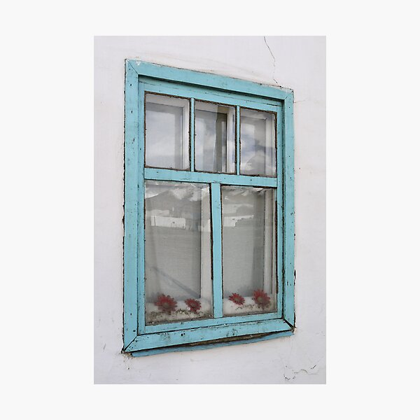 Karakul window - double glazing and red plastic flowers Photographic Print