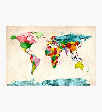 World Map Watercolors Photographic Print