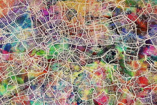 London Map Art Watercolor by Michael Tompsett