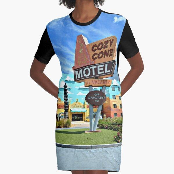 Cozy Cone Motel Graphic T-Shirt Dress
