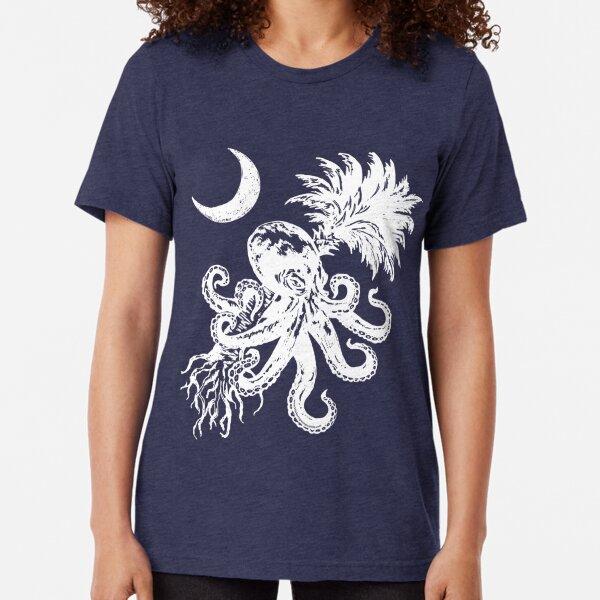 Octopus Tree & Moon  Tri-blend T-Shirt