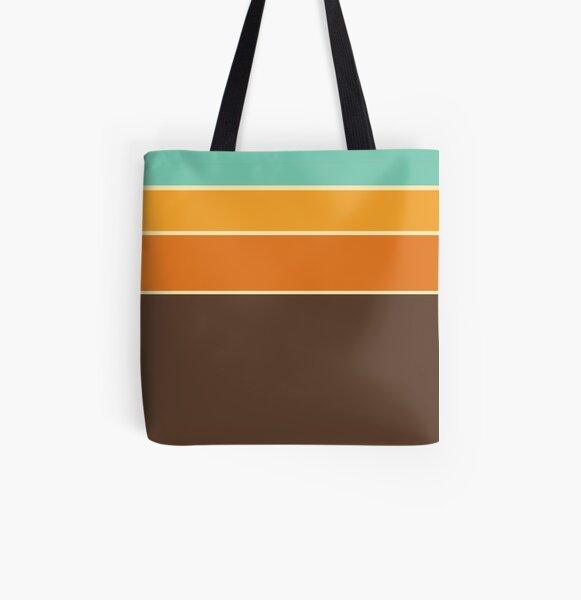 Retro Stripe Pattern All Over Print Tote Bag