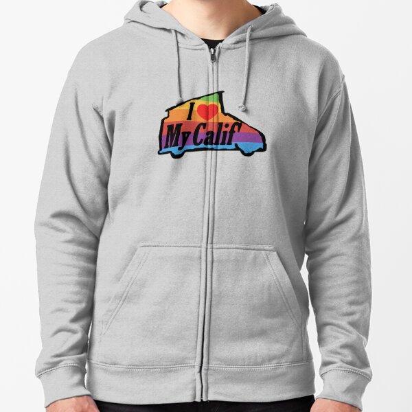 I Love My VW California Rainbow Veste zippée à capuche