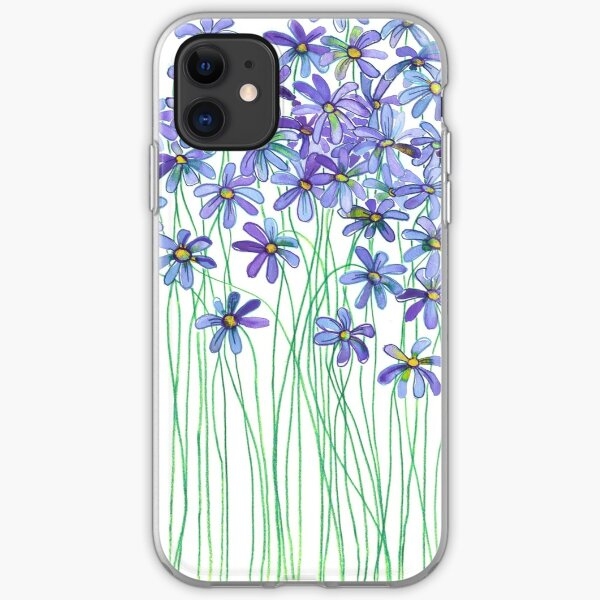 Purple Daisies in Watercolor & Colored Pencil  iPhone Soft Case