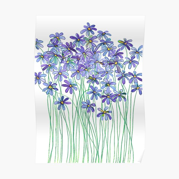 Purple Daisies in Watercolor & Colored Pencil  Poster
