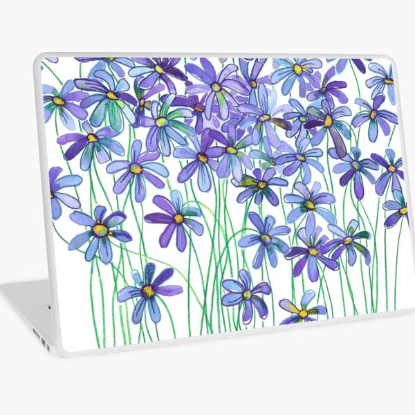 Purple Daisies in Watercolor & Colored Pencil  Laptop Skin
