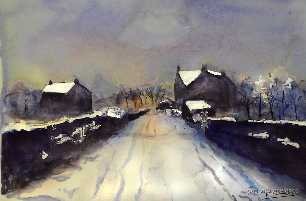 village after snowflurry by pascal  desvignes
