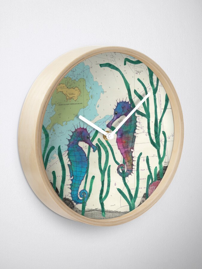 Alternate view of Seahorses at Drakes Island Plymouth Clock