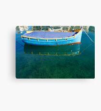 Crystal Clear Mediterranean Blue - Sea Boy at Anchor Canvas Print