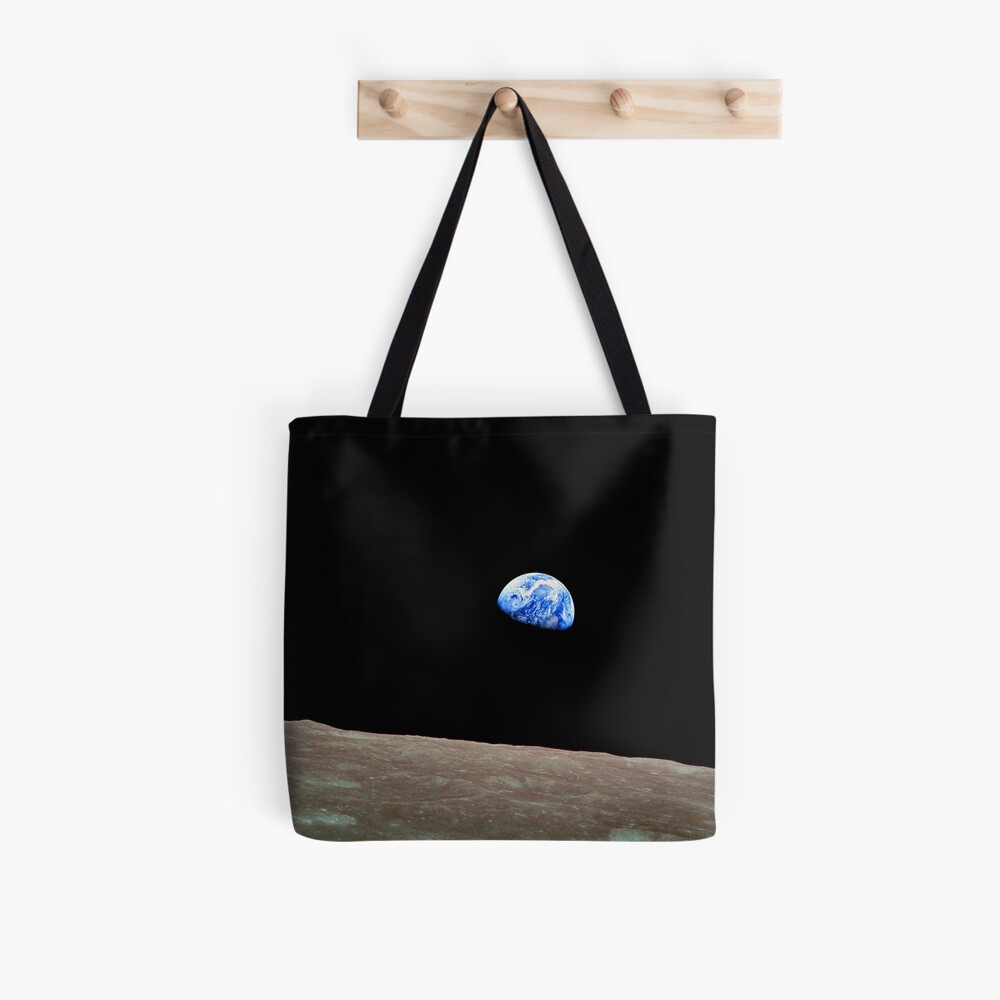 Earthrise Over the Lunar Surface. Tote Bag